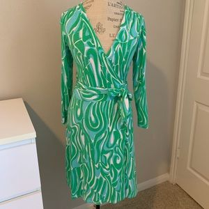 Lilly pulitzer green wrap dress